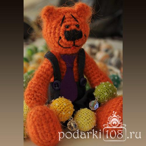 Вязаный Мишка Оранжевое настроение