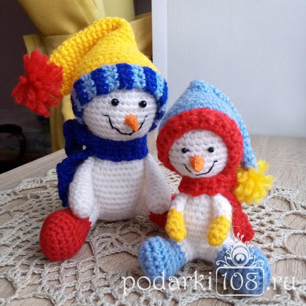 Вязаные Снеговики Мама и малыш