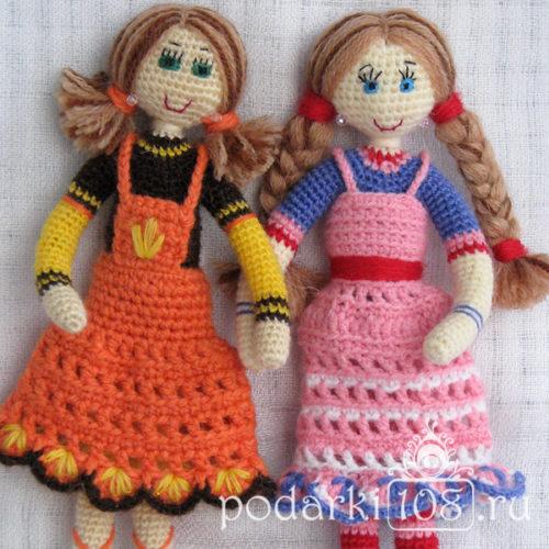 Вязаные куклы Маша и Лида