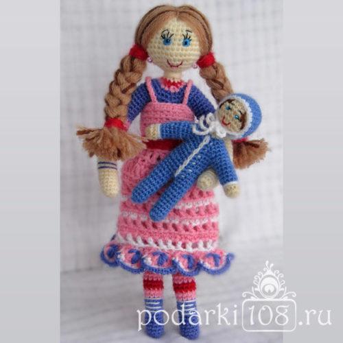 Вязаная кукла Маша с малышом