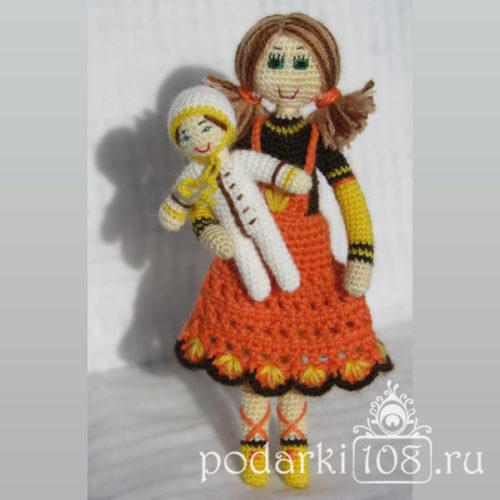 Вязаная кукла Лида с малышом