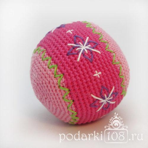 Вязаный мяч-погремушка Узоры