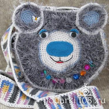 Вязаная детская сумка Мишка Лана