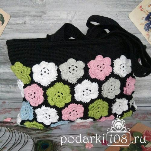 Вязаная сумка с цветами пэчворк купить