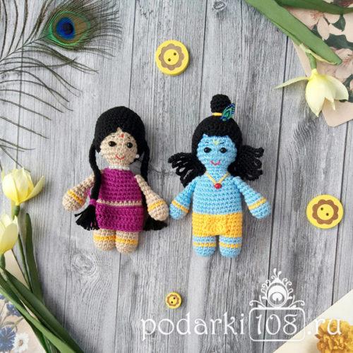 Вязаная кукла Радха Кришна купить Подарки108