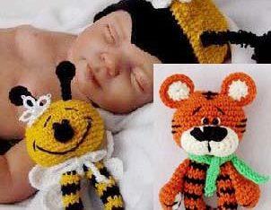 Тигр и Пчелка погремушки крючком мастер класс